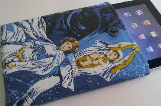 iPad / iPad 2 sleeve case padded bag cover blue Star Wars