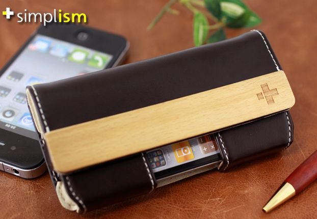 Leather Belt Clip Flip Case for iPhone 4