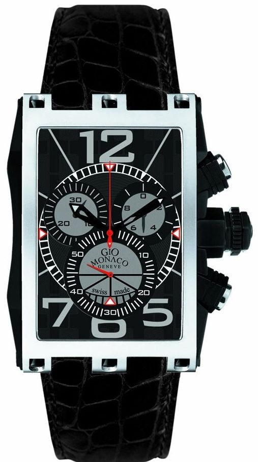 Gio Monaco Men's Mac V Rectangular PVD Coated Side Black Dial Chrono Watch