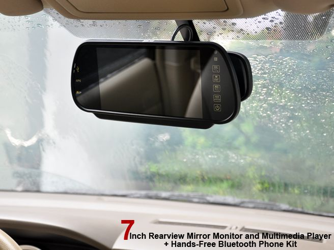 Handsfree Bluetooth Rearview Mirror Monitor and Multimedia MP4 Player