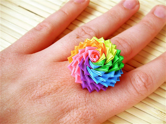 Rainbow Rose Ring