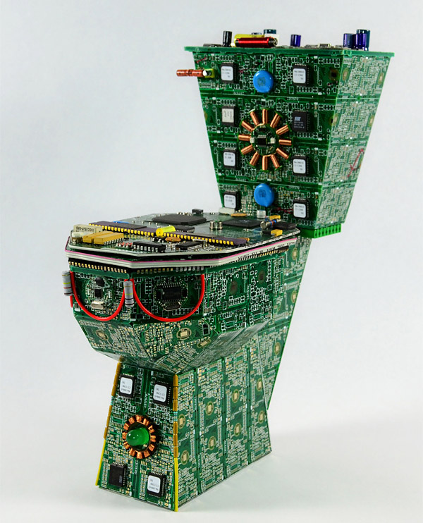 Toilet recycled circuit boards