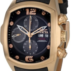 Invicta Men's 0514 Lupah Revolution Automatic Chronograph Diamond Accented Black Leather Watch