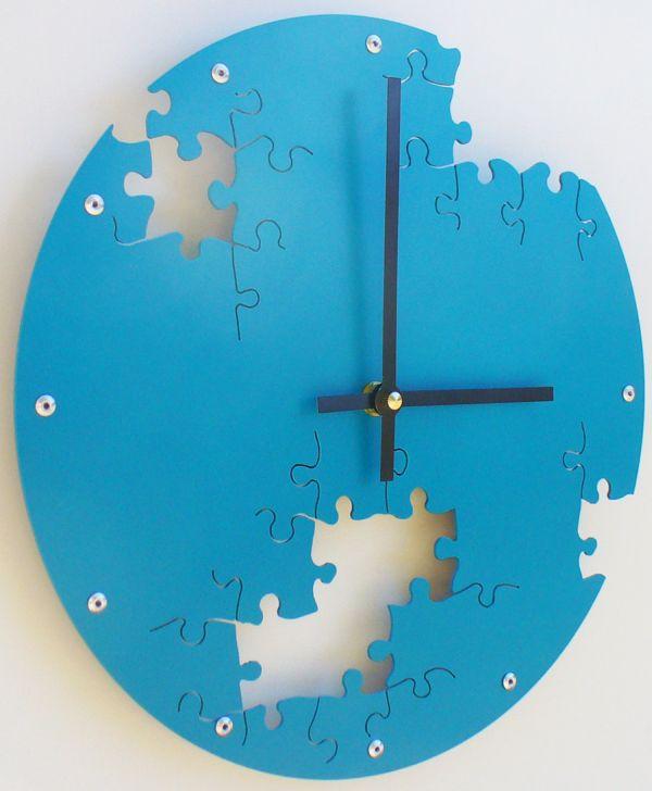 Puzzle Clock Lagoon Blue