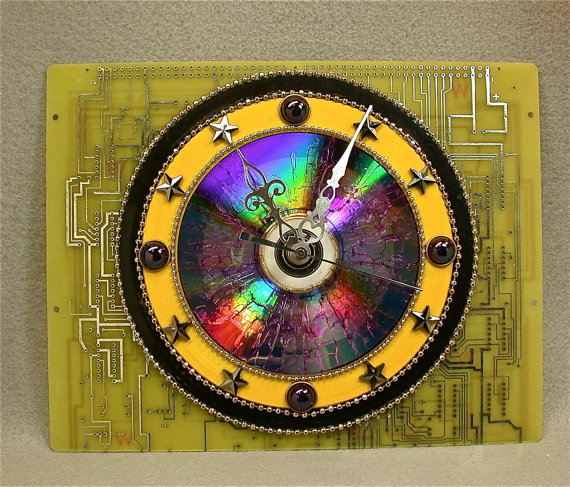 Recycled Yellow CIRCUIT BOARD CLOCK