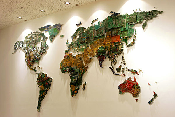 World Map from Recycled Computers