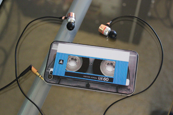 Blue Cassette Decal for iPhone 4