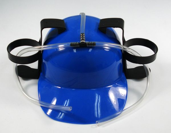Blue Beer Soda Guzzling Party Drinking Hat Helmet