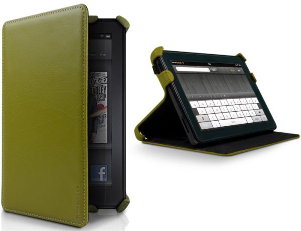Kindle Fire Leather Cover Olive