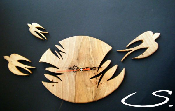 Wall Modern Clock with Swallows Birds