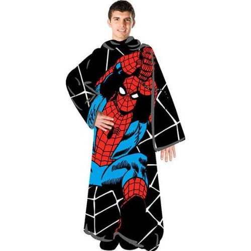 Spiderman Fleece Adult Sz BLANKET with Sleeves