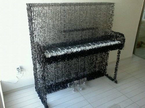 Piano Made from Buttons Hanging