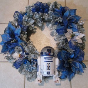 R2D2 Star Wars White and Blue Handmade Wreath