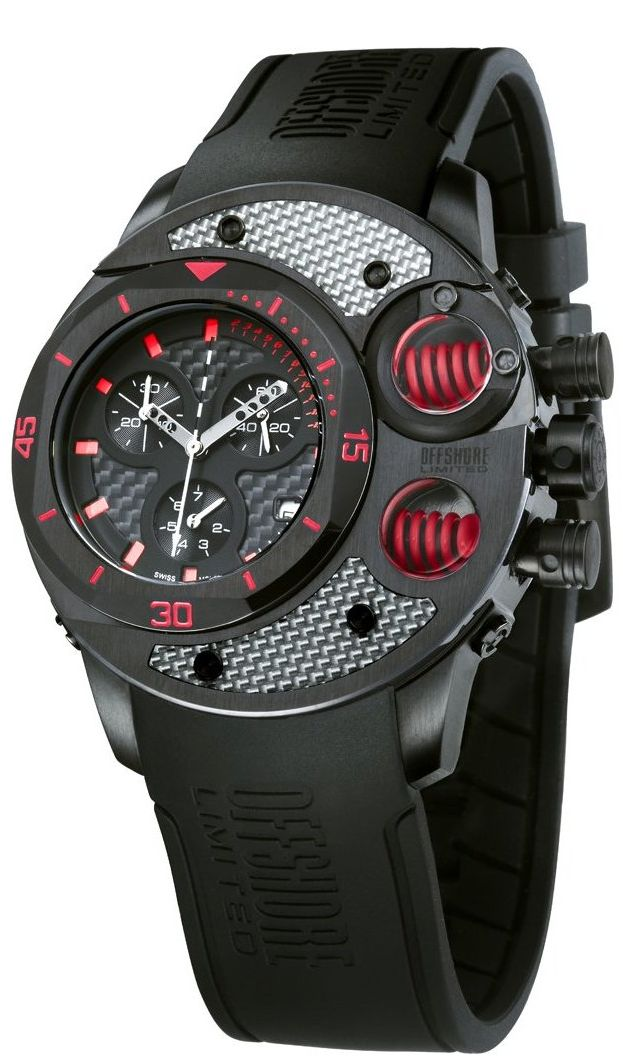Commando Black PVD Chronograph Day-Date Rubber Watch