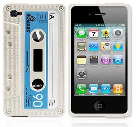 Apple iPhone 4 / 4G White Silicone Cassette Tape Case