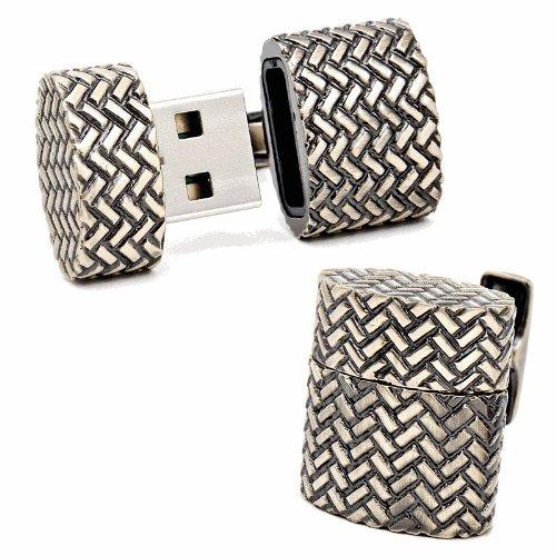 Antique Gold Oval 8GB USB Flash Drive Cufflinks
