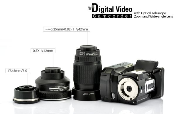 Digital Video Camcorder with Optical Telescope Zoom
