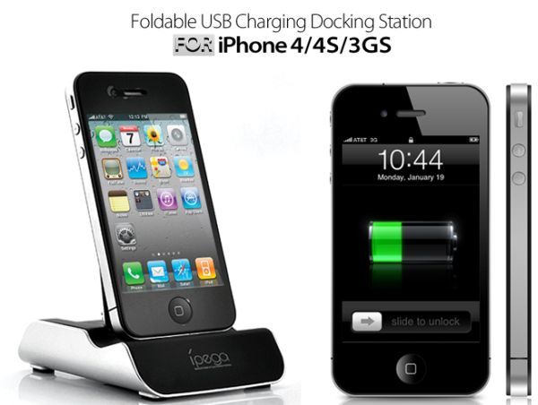Foldable USB Charging Dock for iPhone 4/4S/3GS