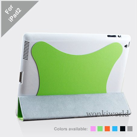 Green Polyurethane Smart Cover Case for Apple iPad 2