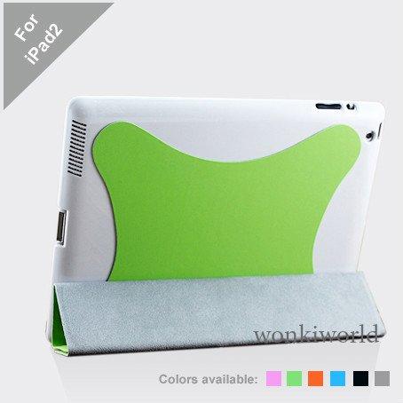 Green Polyurethane Smart Cover Case for Apple iPad 2