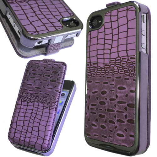 Crocodile Chrome Flip Leather Case for iPhone 4