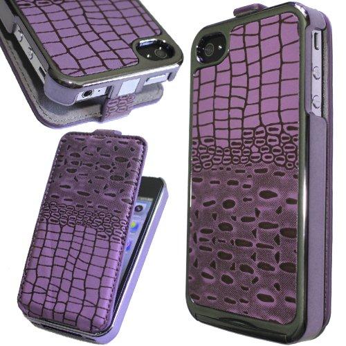 Crocodile Chrome Flip Leather Case for iPhone 4