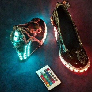 Vintage Steampunk Lace and Jeweled Heels with Remote Control