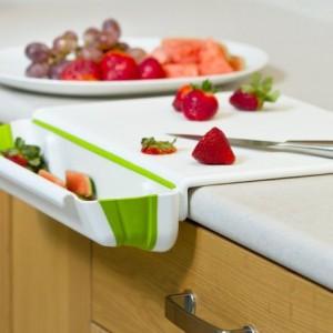 Edge Cutting Board with Collapsible Scrap Bin