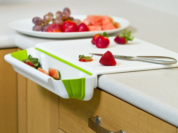 Edge Cutting Board with Collapsible Scrap Bin