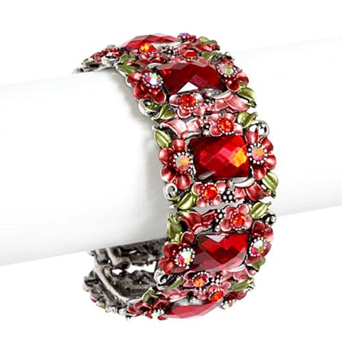 Red Flower Painting and Crystal Cuff Bangle Bracelet