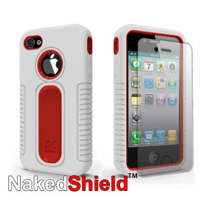 Apple iPhone 4S 4 White Red Tough Armor Skin Case + Naked Shield Screen Protector