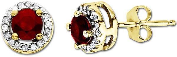 Yellow Gold Round Ruby Diamond-Framed Stud Earrings