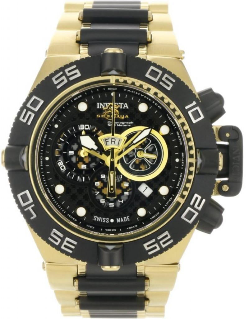 invicta men s 18k gold plated stainless steel
