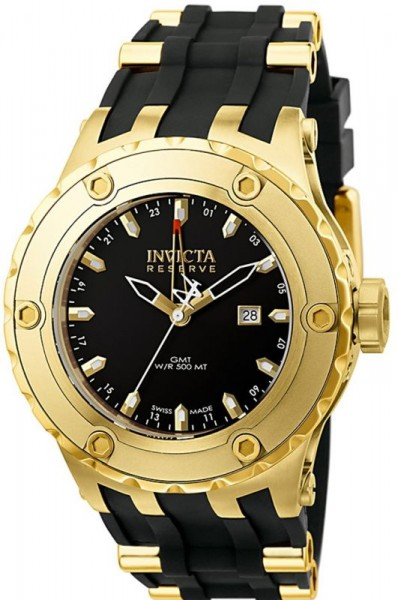 Invicta Men's 6186 Reserve Collection GMT 18k Gold-Plated Black Rubber Watch