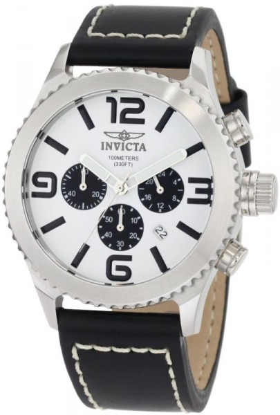 Invicta Men's 1426 II Collection Chronograph White Dial Black Leather Watch