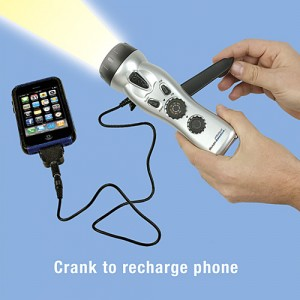 EMERGENCY CRANK FLASHLIGHT AND CELL PHONE CHARGER