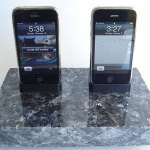 Blue Pearl Dark Granite Dual His & Hers saw cut edge iPhone iPod Dock