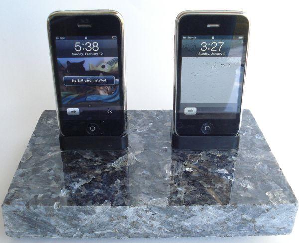 Blue Pearl Dark Granite Dual His & Hers saw cut edge iPhone iPod Dock