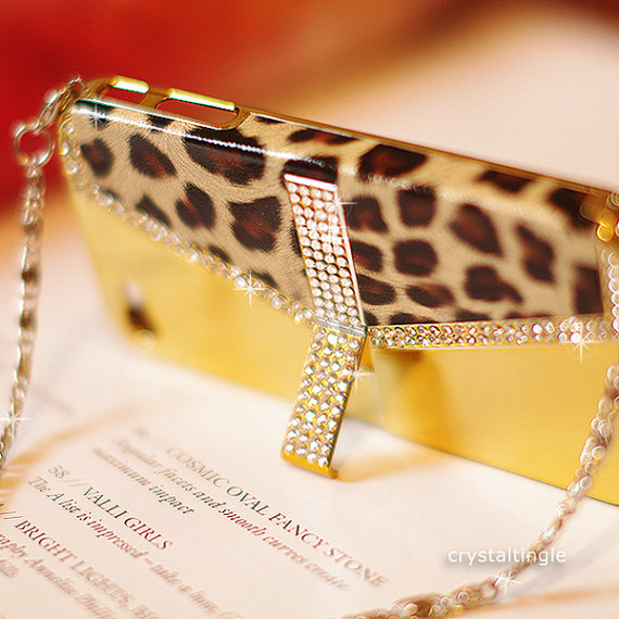 Luxury Leopard Crystal Gold Silver Pink Hotpink White Stand Purse Case for iPhone 4 4S