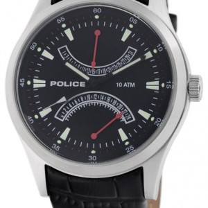 Police Men's PL-11181JS/02 High Beam Black Leather Dual-Time Date Watch