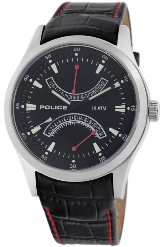 Police Men's Leather Dual-Time Date Watch