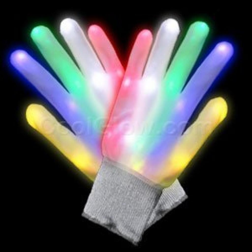 Led Glow In The Dark Light Up Rainbow Raver Gloves