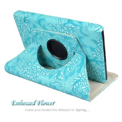 Blue Leather Cover Case for Amazon Kindle Fire