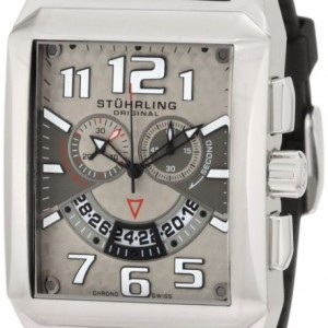 Stuhrling Original Men's 255A.331754 Sportsman Mad Man C-2 Swiss Quartz Chronograph Date Silvertone Watch
