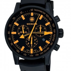 Wenger Men's 70893 Swiss Raid Commando Orange-Accent Black Rubber Strap Watch