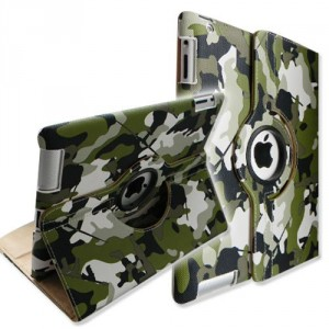 Camouflage Cover Leather Case for iPad 2