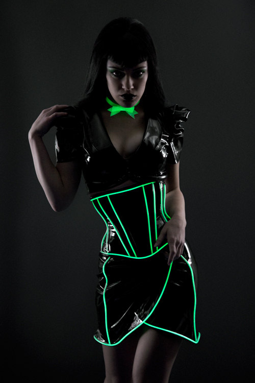 Glowstick green glowing trim long underbust corset