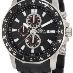 Invicta Men's 1930 Sea Spider Chronograph Black Textured Dial Black Polyurethane Watch