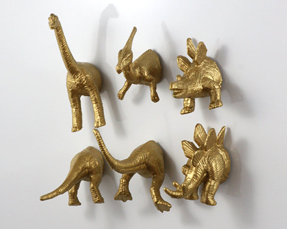 Dinosaur 6 pack Gold Magnets
