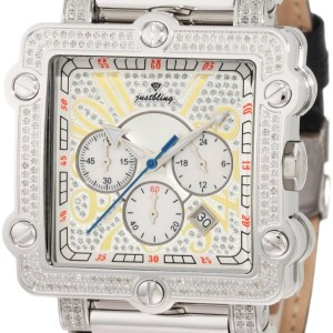 "ust Bling Men's JB-6215-238-B ""Phantom"" Silver Diamond And Stainless Steel Bezel Leather Band Watch"
